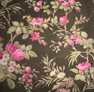 BEAUTIFUL LATE 19th CENTURY FRENCH LINEN & COTTON, ROSES, REF PROJECTS