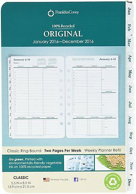 Franklin Covey Green Original Weekly Refills, Jan 2016 - Dec 2016 FDP35423