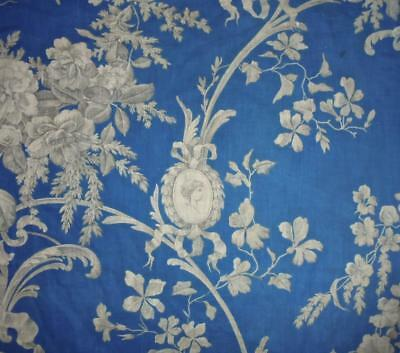 BEAUTIFUL 19th CENTURY FRENCH ROCOCO PRUSSIAN BLUE LINEN TOILE DE JOUY, ROSES