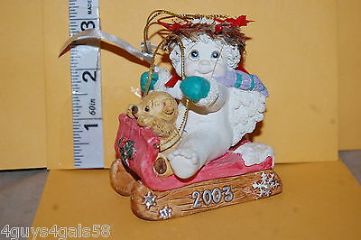 Collectible Dreamsicles 2003 LET IT SNOW CHRISTMAS ORNAMENT Angel Cherub SLEIGH