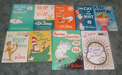 Lot Of 9 Dr Seuss Hard Cover Books, Cat In The Hat, Green Eggs & Ham