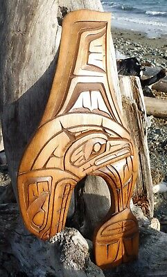 Northwest Coast First Nations Native wooden Art carving Whale, inlaid, 1991