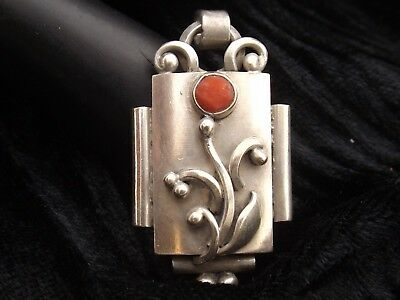 Silver Pendant with coral stone by G HOPPE  Denmark 830S  Skonvirke art nouveau