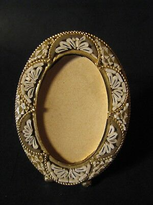Vintage Miniature Oval Beige & White Mosaic Picture Frame Made In Italy