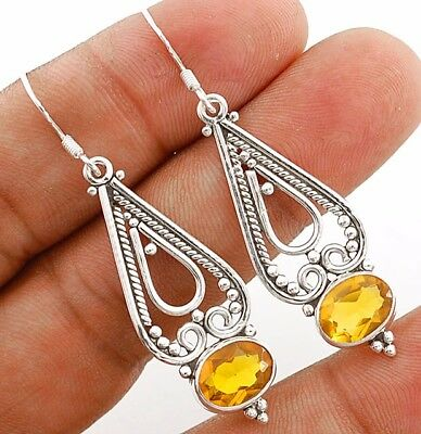 """3CT Golden Citrine 925 Solid Sterling Silver Earrings Jewelry 1 7/8"""" Long"""