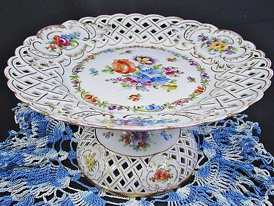 Schierholz & Son Hand Painted Floral Reticulated Compote Dish