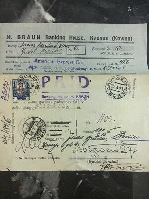 1930 Kaunas Lithuania Receipt Of Payment Cover Banking House