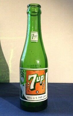 VINTAGE Seven Bubble 7-up BOTTLE Swimming Lady White Top Los Angeles Cal