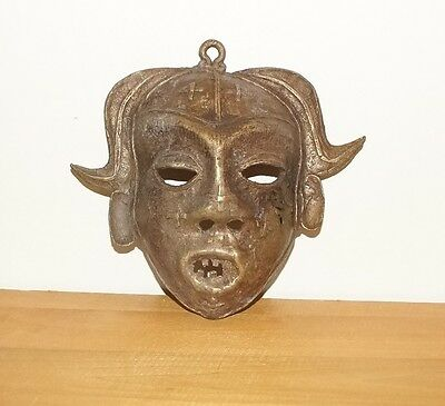 "Beautiful Brass 7 1/2"" Mask With Beautiful Design Details From West Africa"