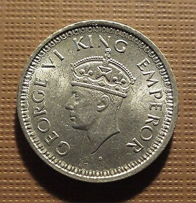India, British - 1944 1/4 Silver Rupee King George Vi           Km#547   Oknc