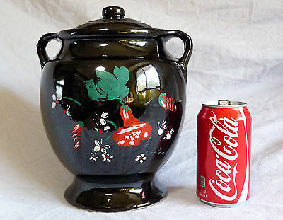 "Vintage WESTERN STONEWARE MONMOUTH USA 9.5""Cookie Jar BLACK Hand Painted Chilies"