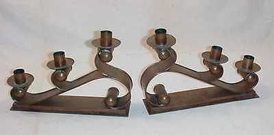 Heintz Like Arts And Crafts Movement Mission Style Pair Copper Candelabras