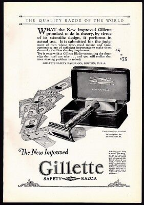 1925 GILLETTE New Standard Razor and Blades Shaving PRINT AD Bathroom Decor