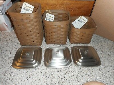 Longaberger NEW Square Canisters - Set of 3, with Lids and Lidded Protectors