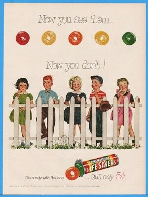 1954 Life Savers Five Flavor Candy With Hole Kids & White Picket Fence Print Ad