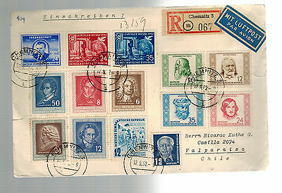 1952 Chemnitz East Germany DDR Cover to Chile Stamps on COver # 96-109