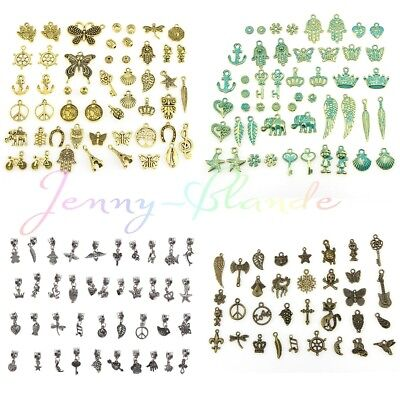Wholesale 50/100Pcs Assorted Retro Jewelry Making DIY Alloy Charms Pendant Craft
