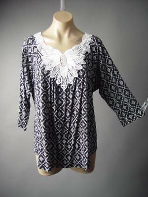Black White Tapestry Embroidered Floral Lace Neck Top 161 mv Blouse XL 2XL 3XL