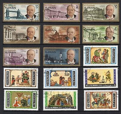 AJAMAN 1966-67 Churchill & Art STAMPS Used REF:QH104
