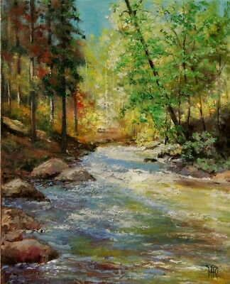 YARY DLUHOS Landscape Mountain River Waterfall Trees Woods Original Oil Painting