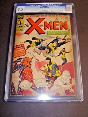 X-men #1 sept 1963 CGC rated 3.5   Amazing Marvel Key Issue! in poly hardcase