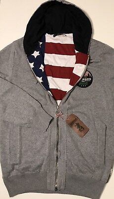 NWT BARBOUR STEVE MCQUEEN Men's GREY/US FLAG FULL ZIP HOODIE JACKET Size LARGE