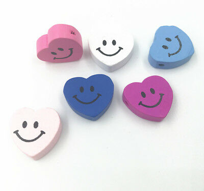Wooden Smileface Heart Shape Wood Beads DIY Necklace Make Accessories 18mm