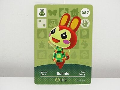 Amiibo Animal Crossing Card Bunnie no. 087 Top