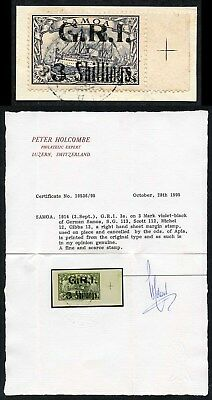 SAMOA SG113 3s on 3m violet-black Superb Used Marginal Example Holcombe Cert