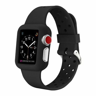 Amzer 42mm Soft Slim Silicone TPU Bumper Band Strap Case for Apple Watch - Black