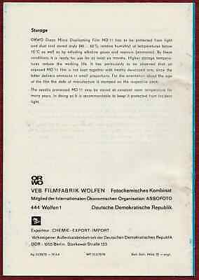 ORWO VEB Filmfabrik Wolfen Microfilm Guide Manual DDR East Germany 1978