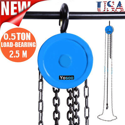 1 Ton Chain Hoist Pulley Wheel Block and Tackle Rigging Engine Lift US Stock