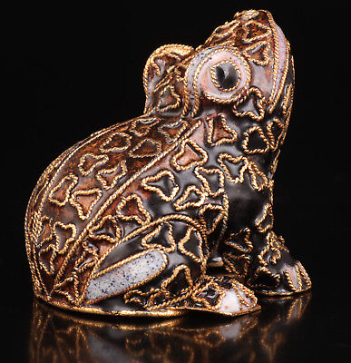 Cloisonne Old Handmade Frog Statue Figurines Vintage Collectable