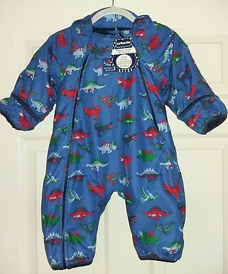NEW WITH TAGS Jojo Maman Bebe 3-6 months waterproof fleece all in one blue dino