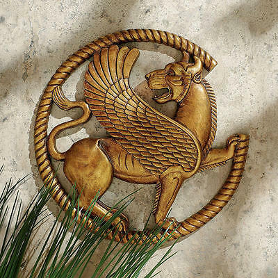 Witchcraft & Slander Protector From Evil Persian Griffin Round Wall Sculpture