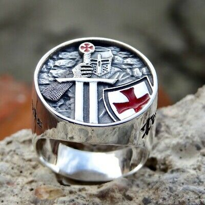 KNIGHTS TEMPLAR RING New Men Sterling Silver 925 Masonic Freemason Handmade