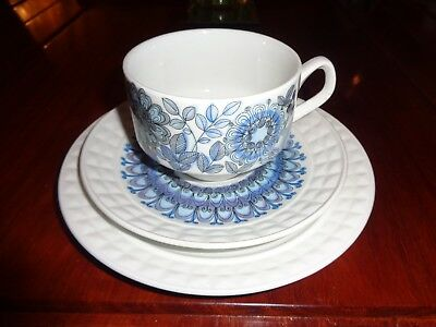 1970's Pontesa Spain Trio Blue Colours Cup Saucer And Side Plate