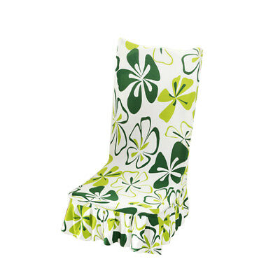 Removable Stretch Slipcovers Short Dining Room Seat Chair Cover - Green Leaf