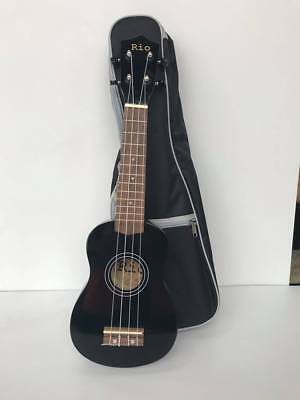Rio Black Beginner Soprano Ukulele With Padded Bag