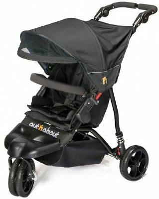 Out'N'About Little Nipper Single Jet Black Compact 3 Wheeled Stroller/Buggy New
