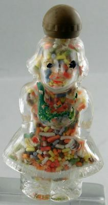 Vintage LITTLE GIRL GLASS CANDY CONTAINER with SCREW on HAT DRESS + BOW in Back