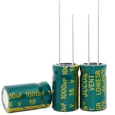 20pcs High Frequency 16V 1000uF Radial Electrolytic Capacitors 105°C 10x17mm