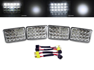 8PC Full LED High/Low Headlights + Wiring Adapters for 1980-1988 Chevy El Camino