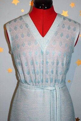 vintage 70s pale turquoise woven dress