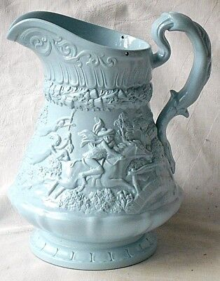 C19Th W. Ridgway And Co Relief Moulded Blue Jug With Drinking Scenes