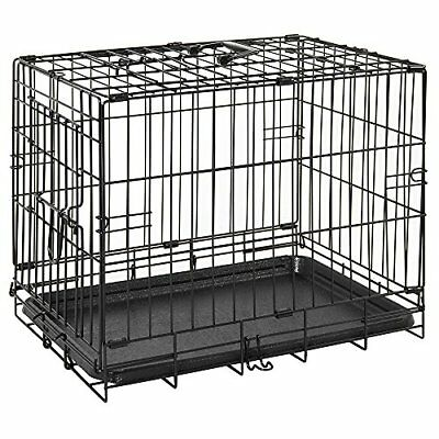 Pet Cage With Tray Folding Dog Puppy Animal Crate Vet Car Training Carrier Metal
