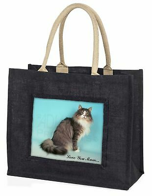 Norwegian Forest Cat 'Love You Mum' Large Black Shopping Bag Christ, AC-54lymBLB
