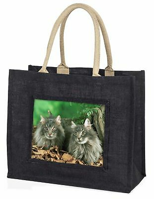 Blue Norwegian Forest Cats Large Black Shopping Bag Christmas Present , AC-55BLB