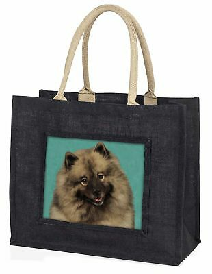 Keeshond Dog Large Black Shopping Bag Christmas Present Idea      , AD-KEE1BLB