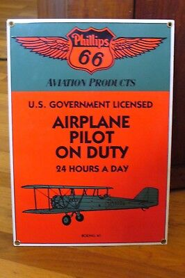 Ande Rooney Phillips 66 Aviation Products Porcelain Enameled Sign BOEING 40
